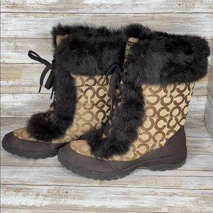COACH fur trim snow boots